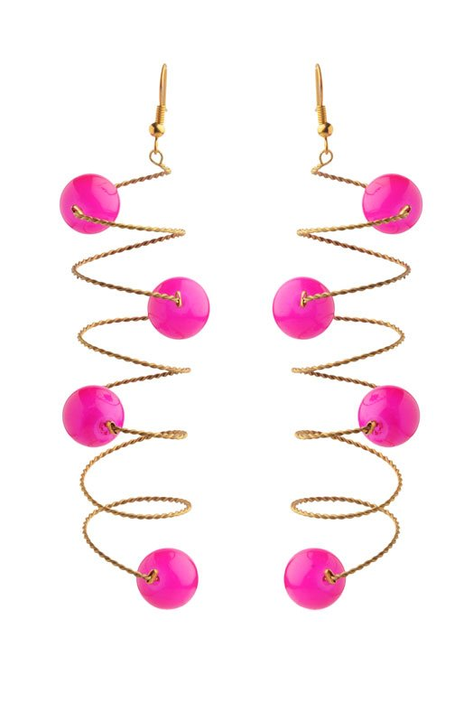 Pink Curly Earrings (RJE155)-0