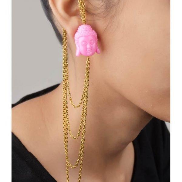 Pink Buddha Earcuffs - (RJEC317)-0