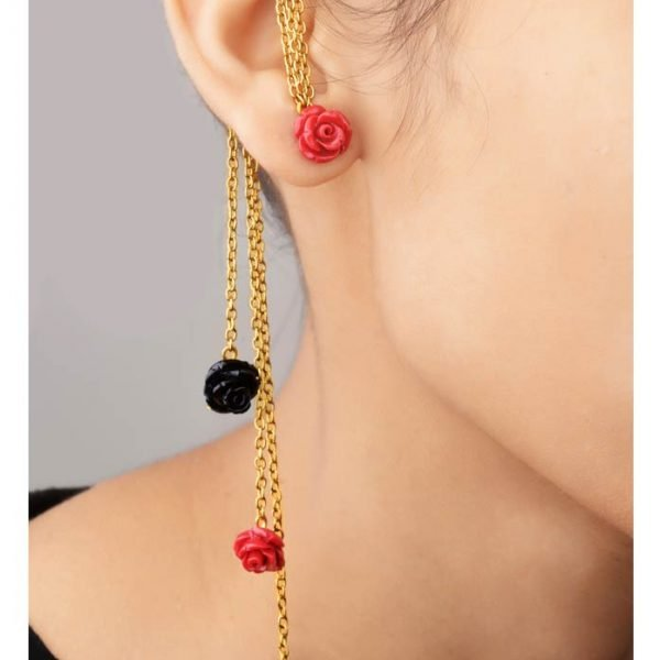 Red Floral Earcuffs - (RJEC321)-0